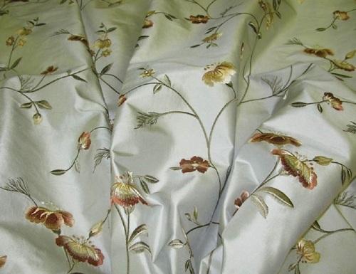 Silk Taffeta Embroidered fabrics