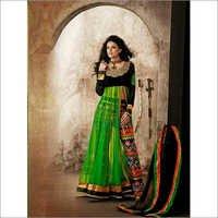 Neon Green and Black Net Abaya Style Kameez