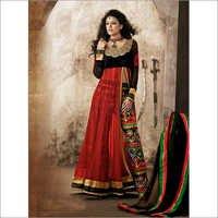 Neon Red & Black Net & Velvet Abaya Style Kameez