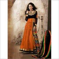 Rust & Black Net & Velvet Abaya Style Kameez