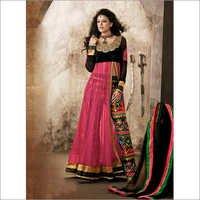 Fuchsia and Black Net and Velvet Abaya Style Kamee