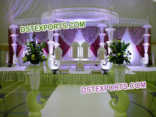 New  Wedding Fiber Crystal  Pillar Mandap