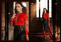 Red&Black Art Bhagalpuri Silk &Net Churidar Kameez