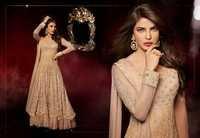 Light Peach Net Double Layered Abaya Style