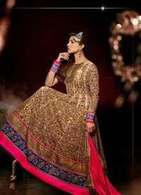 Beige Net Abaya Style Churidar Kameez