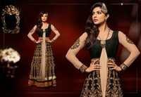 Black& Beige Art Bhagalpuri Silk & Net Abaya Style