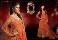 Orange Net Abaya Style Churidar Kameez