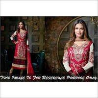 Esha Gupta Pink & Cream  Georgette Embroidered Str