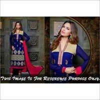 Esha Gupta Royal Blue&Magenta Georgette Embroider