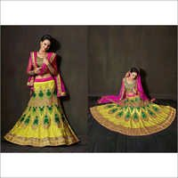Yellow Net Lehenga Choli with Dupatta