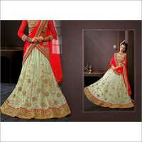 Red & CreamNet Lehenga Choli with Dupatta