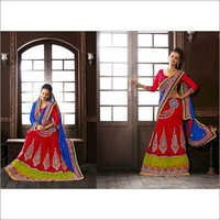 Red & Blue Net Lehenga Choli with Dupatta