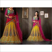 Green & YellowNet Lehenga Choli with Dupatta