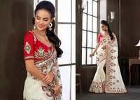 Off White Net and Net Jacquard Lehenga Choli
