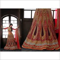 Red Net Lehenga Choli with Dupatta