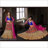 Brown Tissue Circular Lehenga Choli with Dupatta