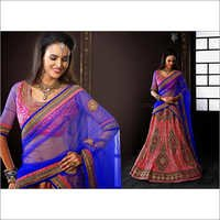 Maroon & Blue Net Lehenga Choli with Dupatta