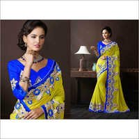 Blue & Yellow Faux Georgette Lehenga Style Saree