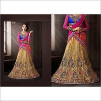 Cream & Blue Net Lehenga Choli with Dupatta