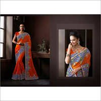 Orange Faux Georgette Lehenga Style Saree