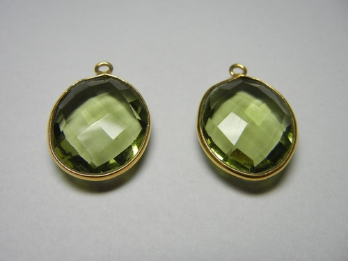 Green Amethyst Quartz Bezel Set Gemstone Connector Selling Per Piece