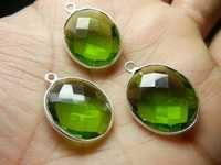 Peridot Quartz Bezel Set Gemstone Connector Selling Per Piece