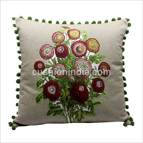 Applique Embroidered  Natural Cotton Cushion Cover