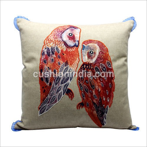 OWL Embroidered Designer Cotton  Cushion Cover