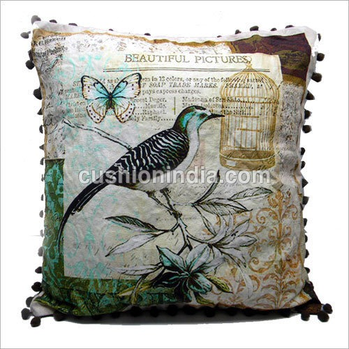 French Bird Art Printed Cotton Cushion Cover