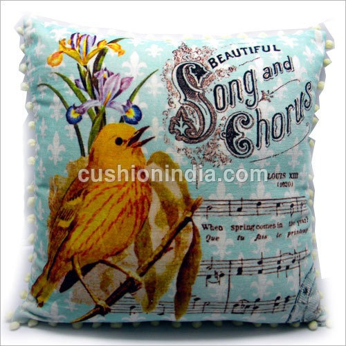 Singing Bird Art Printed  Velvet Cushion Cover