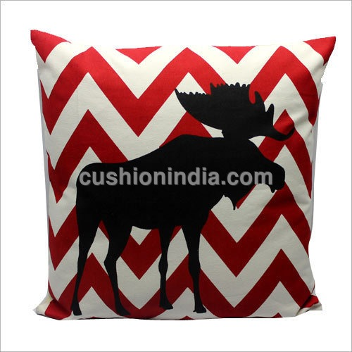 Moose on  IKAT Print Cotton Christmas Cushion