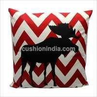 Moose On  Ikat Print Cotton Christmas Cushion