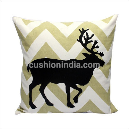 Moose Art Printed Cotton Cushion Cover