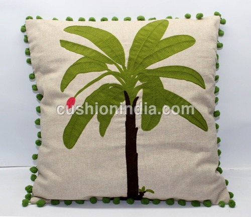 PALM  TREE  art  Image  Embroidered Cotton Cushion