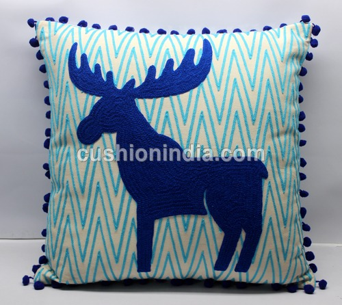 MOOSE Embroidered Art Cotton Cushion Cover