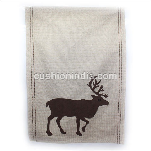 Tea Towel  in  Moose Theme  with Thread Stitch