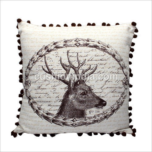 Deer Face Printed Cotton Cushion Cover with Pompom
