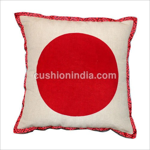 Flocked  Circle  Cotton - Linen  Cushion  Cover
