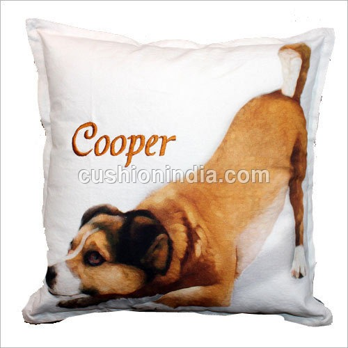 Dog  Image Art Printed  & Name Embroidered Cushion