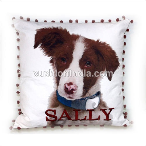 DOG  Image  with name Embroidered  Cushion  Cover