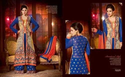 Stylish blue Anarkali Shuit
