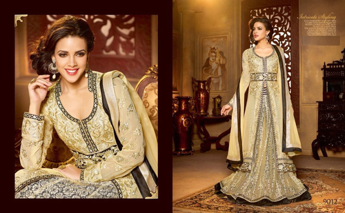 Stylish Cream Color Anarkali Shuit