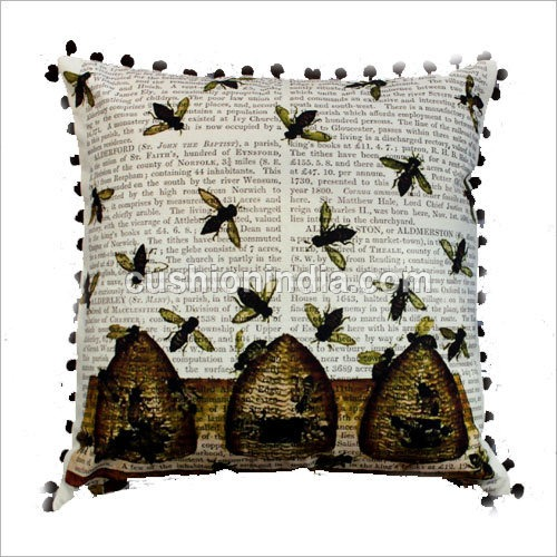 BEE Art  Image  Newspaper Print Cotton Cushion