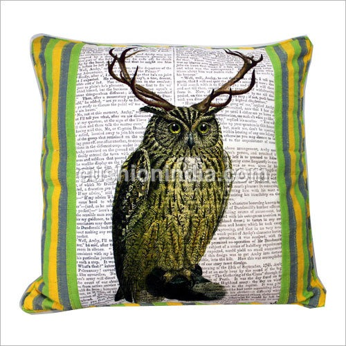 OWL theme Newspaper Art Print Cotton Cushion Cover