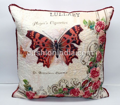 Designer  3D Quilted  Cotton Cushion Cover