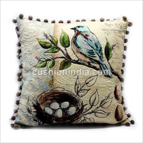 Designer Cotton Velvet Cushion Cover -Quilt Effect
