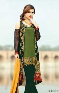 Green Designer Georgette Party Wear Suit