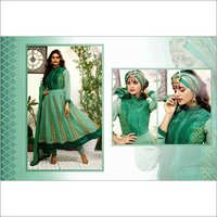 Moss Green Faux Georgette Anarkali Churidar Kameez