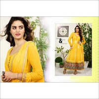 Yellow Faux Georgette Anarkali Churidar Kameez