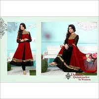 Red and Black Faux Georgette Double Layered Anarka